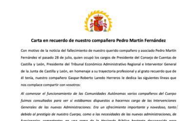 Carta en recuerdo de nuestro compañero Pedro Martín Fernández