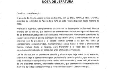 Recuerdo del fiscal Jefe Anticorrupción a nuestro compañero Marcos Peletero Diz