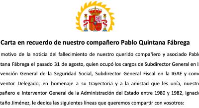 Carta en recuerdo de nuestro compañero Pablo Quintana Fábrega